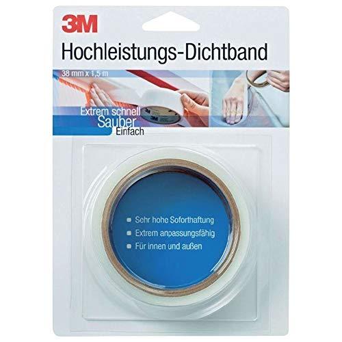 3M DICHT38 Hochleistungs Dichtband (Abdichtband, Dichtungsband, Klebeband wasserdicht, Klebeband zum Abdichten und Versiegeln) 38 mm x 1,5 m x0,9 mm, weiß und transluzent, (1-er Pack)