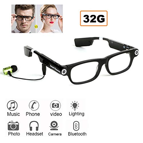 Bluetooth Multi-Funktions-Smart-Brille, 720P HD-Gläser Für Das Hören Von Musik/Telefon- / Kamera/Video/LED-Licht, 32G,V3