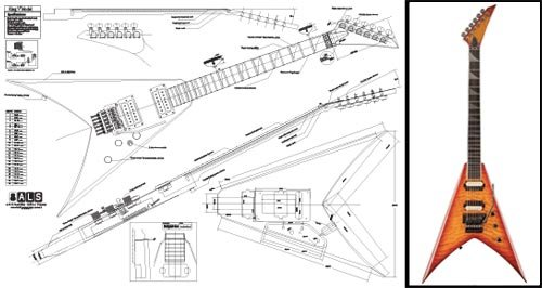 Plan of Jackson King V E-Gitarre, Vollmaßstabsdruck