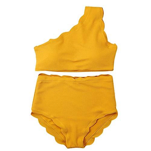 TSWRK Damen Badeanzug Einfarbig One Shoulder Tankini Bikini Set Bademode Badebekleidung Strandmode Strandkleidung