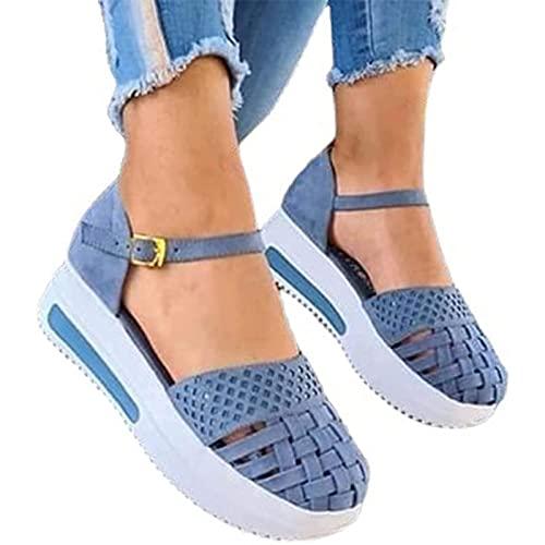 WellingA Sandalias cuña cómodas para Mujer Sandalias Planas para Caminar con Punta Cerrada Gancho y Lazo Atlético en Punta Abierta Ortopédico Ahuecado Verano Zapatos de Playa,Light Blue,40