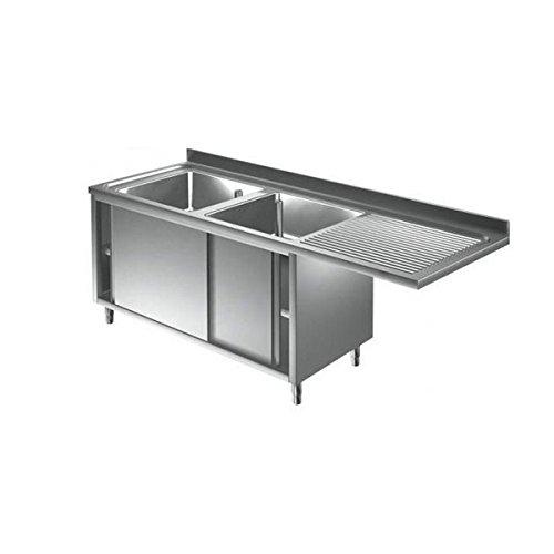 Lavoir inoxydable armadiato 2 cuves + égouttoir DX/SX pour lave-vaisselle Dim.CM 200 x 60 x 85h