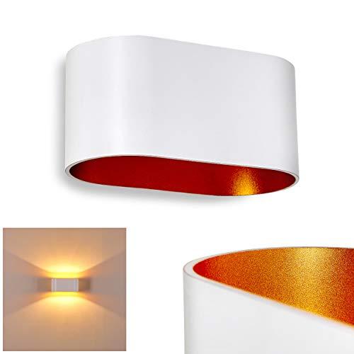 Wandlamp Dapp van metaal in wit/goud, moderne wandlamp met lichteffect, 1 x G9 fitting, max. 40 Watt, binnenwerklamp met op en neergaande werking, geschikt voor LED-lampen