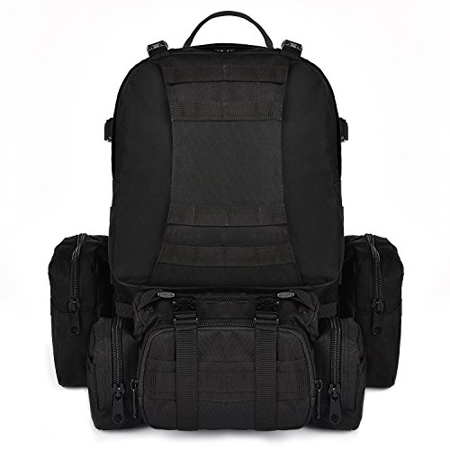 CVLIFE 60L Built-up Military Tactical Army Outdoor Backpacks Assault Combat Rucksack Heavy Bug Out Bag Black