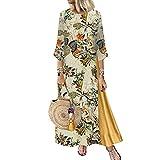 Boho Dresses for Women Vintage Print Floral Patch Sundress 3/4 Sleeve Crewneck Plus Size Maxi Dress Beachdress (01 Khaki, XL)