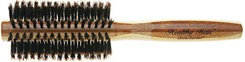Olivia Garden Healthy Hair Brosse Thermale Ronde en Bambou avec Poils 100% Sanglier, Diamètre - Corps de Brosse Ecologique en Bambou avec Poils 100 % Pur Sanglier pour des Cheveux Brillants