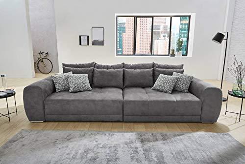 lifestyle4living Big Sofa grau, Microfaser | XXL Sofa mit extra tiefer Sitzfläche auch als Liegesofa, ca. 3m breit