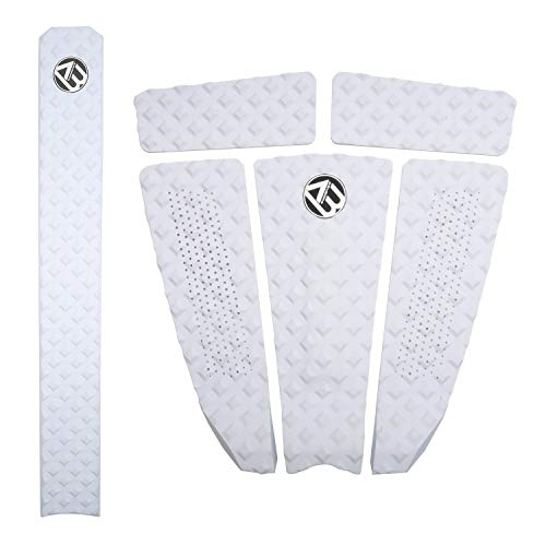 AQUBONA Arch Bar Traction Pad 5+1 Piece EVA Surfboard Deck Traction Pads with Kicker for Stomp Skimboards, Surf Boards, Funboard, Fish Board/White Blue