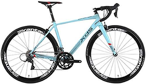 Camino de la bici, Adulto 16 Velocidad Bicicleta de carreras, 480MM ultra ligera con marco de aluminio de aluminio Ciudad de cercanías bicicletas, perfecto for carretera o suciedad Touring Trail, gris