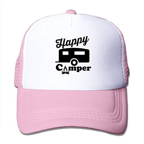 DDHHFJ Happy Camper Fire Trailer Mesh Trucker Caps/Hats Adjustable for Unisex Black