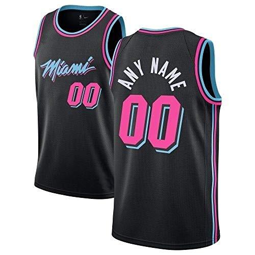 WOLFIRE WF Camiseta de Baloncesto para Hombre Personalizable, NBA, Miami Heat. Bordado, Transpirable y Resistente al Desgaste Camiseta para Fan (Negro, 3XL)