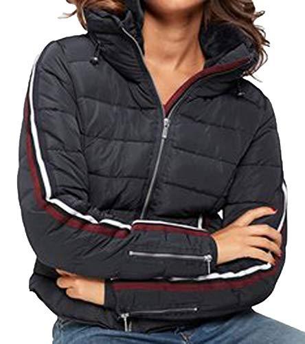 Zabaione Miriam Stepp-Jacke ausdrucksstarke Damen Schnee-Jacke mit Streifen auf den Armen Jackett Outdoor-Jacke Dunkelblau, Größe:XL