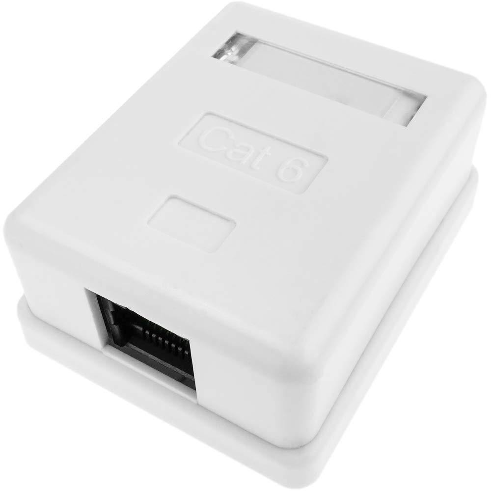 BeMatik - Caja de superficie de 1 RJ45 Cat.6 UTP: Amazon.es: Electrónica