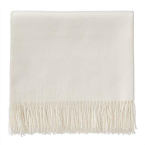 URBANARA 130x185 cm Alpakadecke 'Arica' Ecru — 100% reine Baby-Alpakawolle — Ideal als Überwurf, Plaid oder Kuscheldecke für Sofa und Bett — Warme Decke aus Alpakawolle mit Fransen