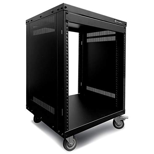 AxcessAbles RK 12U Equipment Rolling Cabinet Rack Stand with Locking Caster Wheels (Compatible with American 5mm & European 6mm Racks) Audio Video, Recording Studio, Music, Live Sound, Church Storage