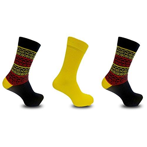 Textiles Universels Chaussettes style Fairisle (3 paires) - Homme (EUR 40-45) (Jaune)