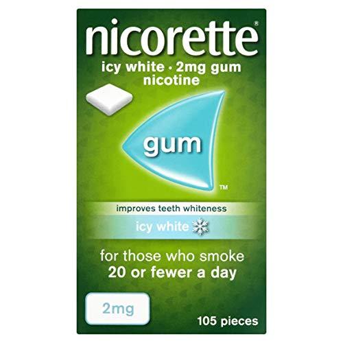 Nicorette Icy White Chewing Whitening Gum, 105 Pieces, 2 mg ( Quit Smoking & Smoking Aid)
