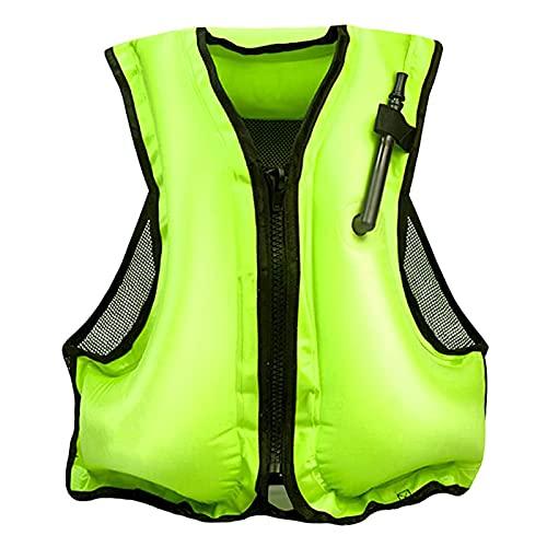 ZAYZ Chaqueta de Snorkel para Adulto con Correas en Las Piernas Chaquetas Flotantes Inflables para Chaleco Salvavidas de Agua (Color : Green, Size : 58x49cm)