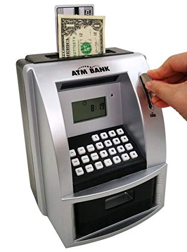 Lyght ATM Savings Bank, Electronic Piggy Bank for Real Money, Electronic Cash Box with Debit Card Password Login, Voice Prompt, Coin Recognition, Targets Setting, Sliver/Black
