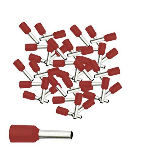 Aderendhülsen von 0,34-50 mm² isoliert 10-1000 Stück Auswahl: (100 Stück, 1.5 mm² rot)