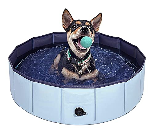 Collapsible Pet Bath Tub Foldable Dog Pool Hard Plasticfor Puppy Small Dogs Cats and Kids (Color : Blue, Size : 160cm x 30cm)