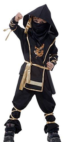 Cloudkids Disfraz de Ninja Dragon para Nio Disfraz Infantil de Halloween Negro y Rojo 3-12 aos (L)(7-9 aos)