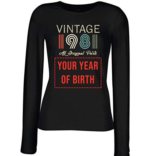 lepni.me Camisetas de Manga Larga para Mujer Personalizado con Cualquier Año Regalo Vintage Todas Las Piezas Originales (Medium Negro Multicolor)