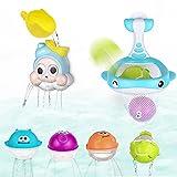 Lictin Badespielzeug mit Walnetzen Badewannenspielzeug BPA-frei, Badespielzeug Wasserspielzeug Geschenkset Niedlichen Tieren in Schwimmbadspielen, Babybadewanne Spielzeug für Kinder Baby ab 3+ Ages