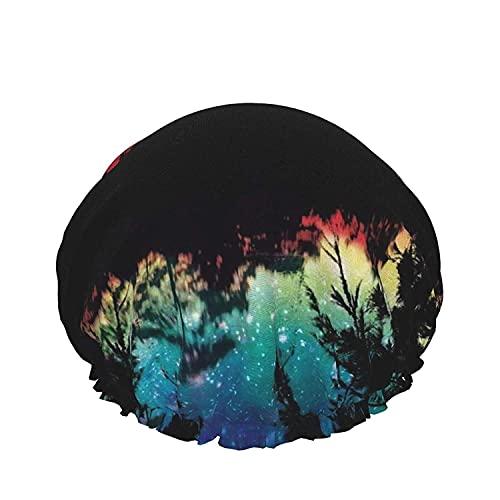 Gorro de ducha de color Púrpura de la Fantasía de la Luna Llena Reutilizables Baño Sombrero de Pelo,con bandas elásticas Ajustables,Reutilizable de Baño Sombreros Para Mujer Impermeable Ajustable