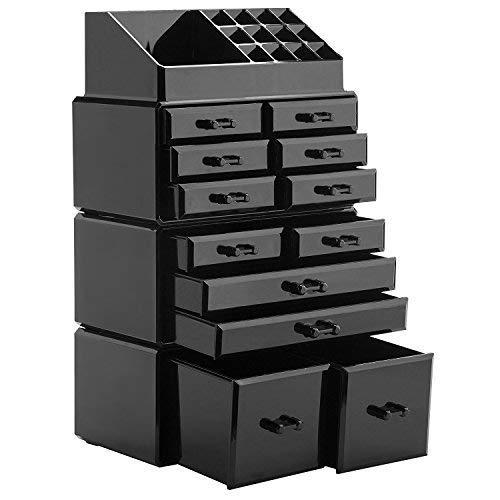 Display4top Organisateur Maquillage Acrylique Boîte à Bijoux Transparent Rangement de Maquillage Pinceaux (12 Tiers Tiroirs Noir)
