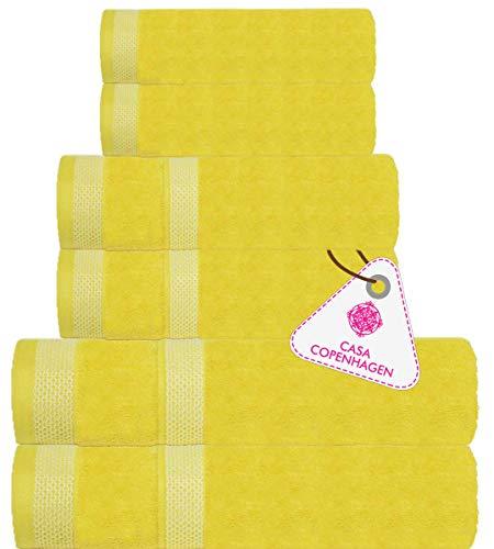 CASA COPENHAGEN Solitaire Egipcio algodón 600g/m², Sala de baños, Mano y servilleta / Toallas Junto (Ranúnculo Amarillo) 6 Piezas