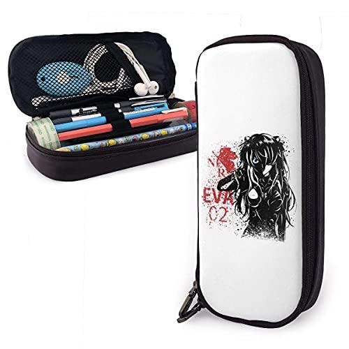 Lápices Estuche para bolígrafos Ink Splash Eva Evangelion - Estuche para lápices de cuero Asuka de gran capacidad con cremallera Estuche para lápices de almacenamiento grande Organizador de escritori