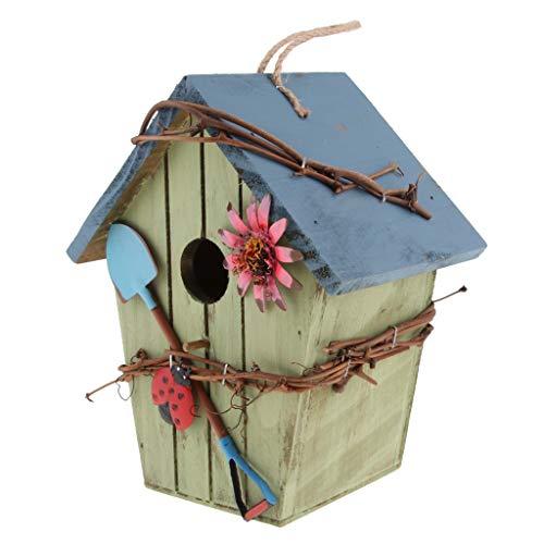 Homyl Retro Vogel Nisthöhle/Vogelhaus für Kleinvögel Rotschwänzchen, super Villa für Kleinsingvög - D#