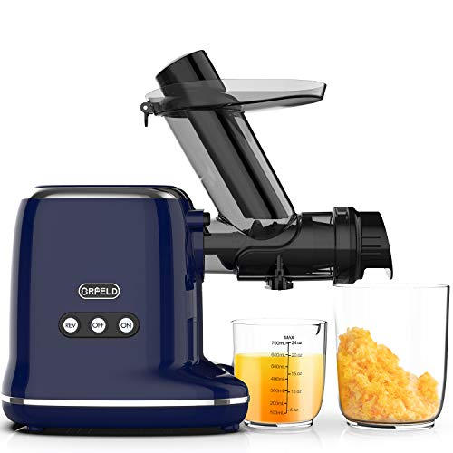 ORFELD Juicer Machines, Slow Masticating Juicer with 95% Juice Yield & Purest Juice, 5 Seconds Cleaning, Quiet Motor & Reverse Function, 3 inch Chute Cold Press Juicer for Vegetables and Fruits