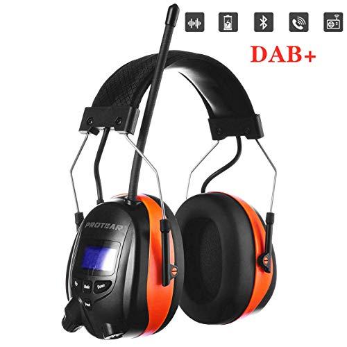 Protear SNR 30dB Gehoorbescherming met radio en Bluetooth, FM/AM-radio, ingebouwde microfoon, voor industrie, BAU en maaien Dab+/Fm/Bluetooth Lithium-batterie - Orange