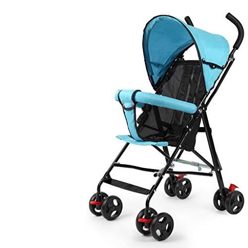 Carritos y sillas de Paseo Ultra Ligero Cochecito de bebé portátil Plegable Simple bebé niño Paraguas Verano niños Verano niño Carro Bebé Sillas de Paseo (Color : Blue)