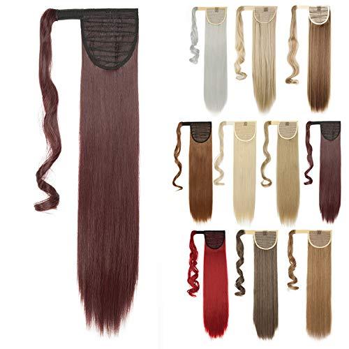 58cm - Silk-co Coleta Postiza de Pelo Sintético Liso & Largo con Clips Extensiones de Cabello Invisible y Natural Ponytail Hair Extension [#Vino Tinto] - 90g