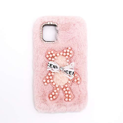 YHY Funda Teléfono Pearl Bear Plush para Samsung Galaxy E625F Carcasa De Felpa De Silicona Suave y Elegante La Piel Rosado