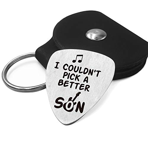 Son Love Quotes Guitar Pick Gifts for Him Men - Stainless Steel Guitar Pick with Guitar Pick Holder Case - Best Musician Gift Ideas for Son Graduation Birthday Valentines Christmas Gifts from Mom Dad