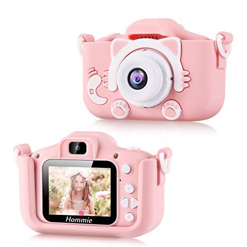 Cámara Digital para Niños, Hommie 32GB 8MP/1080p Doble Lente Camara Fotos Niña, 2.0HD Cámara Digitale Selfie para Niña de Tarjeta 32GB, Cámara para Niños de 3-12 Años,Cámara para Niña, Rosa