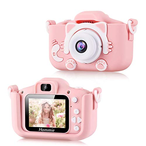 Hommie macchina fotografica con Selfie, Kids Camera Digitale con 2 Pollici Schermo HD, Macchina Fotografica per 3-10 anni, Giochi Offerta Ragazzi con 3 Giochi Rosa