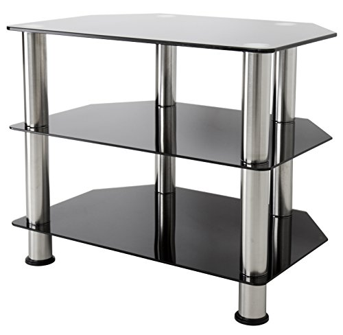 AVF SDC600-A TV Stand for Up to 32-Inch TVs, Black Glass, Chrome Legs Black with Chrome Legs