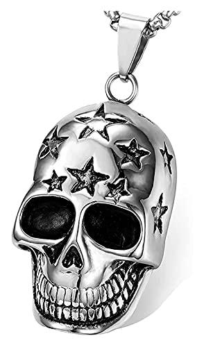 Reversty Collar sólido Grande Sonrisa Dorado cráneo Diadema Estrella Colgante Collar de Halloween Hamlet Caballero de Acero Inoxidable Collar
