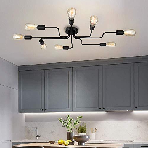 Qucover Deckenleuchte Schwarz Industrial Deckenlampe Vintage Retro Groß Kronleuchter mit 8 Flammig Modern E27 für Wohnzimmer Küche Esszimmer Schlafzimmer Flur (Ohne Birne)