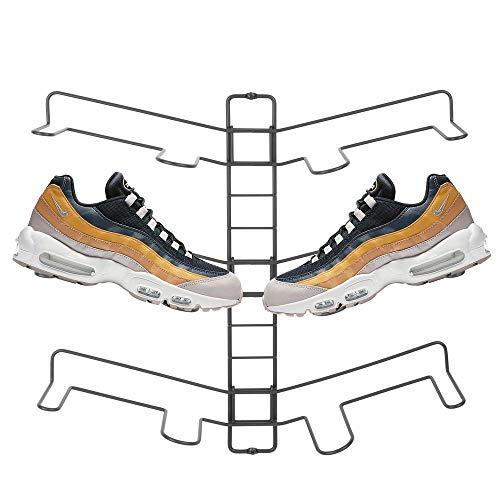 mDesign Schuhablage – verstellbares Wand Schuhregal für drei Paar Sneaker, Sportschuhe etc. – platzsparende Alternative zum Schuhschrank – grau