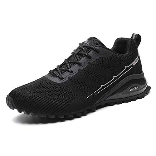 Dannto Sportschuhe Herren Laufschuhe Turnschuhe Straßenlaufschuhe Atmungsaktiv Gym Sneakers(schwarz,45)