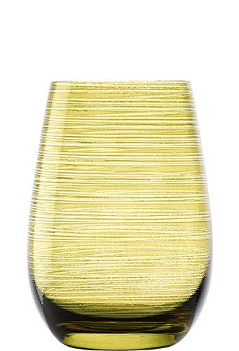 Gobelets Twister de Stölzle Lausitz, 465 ml, Vert olive, ensemble de 6, verres colorés, jolis gobelets multicolores, résistants au lave-vaisselle, parfaits comme idée cadeau.