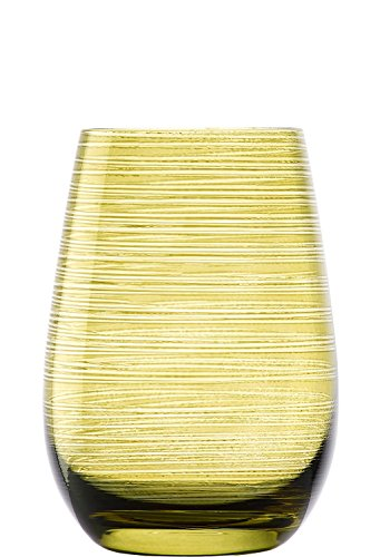 Stölzle Lausitz Twister Becher in Oliv, 465 ml, 6er Set Gläser, spülmaschinenfest, Bunte Trinkbecher, hochwertige Qualität