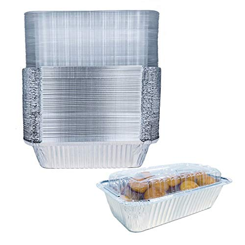 "8x4"" Disposable Baking Loaf Pan with Lid - 1.5 Lb Bread Pan - Mini Loaf Pans – 50 Pans and 50 Clear Lids - Perfect for Baking Cakes, Bread, Meatloaf…"