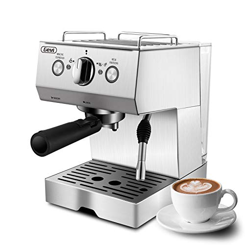 Espresso Machines 15 Bar Cappuccino Machine with Milk Frother for Espresso, Latte and Mocha, 1.5L Removable Water Tank and Double Temperature Control System, Classial, Sliver, 1050W